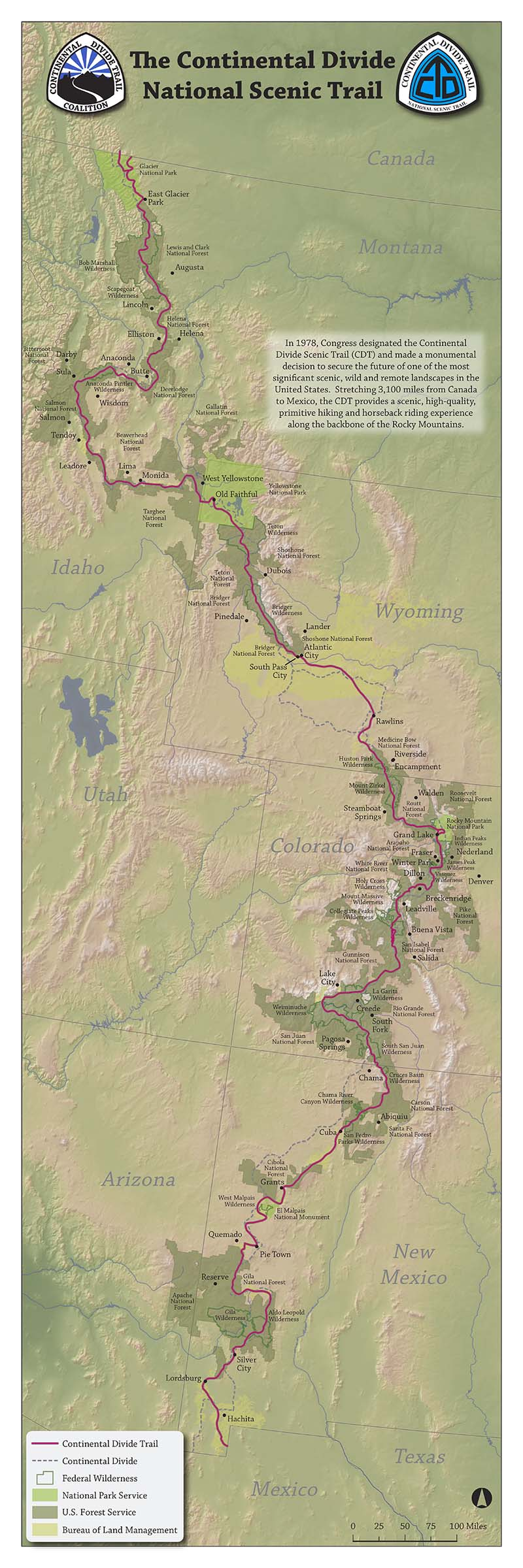 Large Poster Size CDT Map Continental Divide Trail Coalition - Interactive map of the continental divide in the us